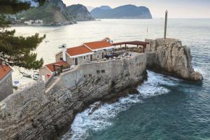 Coastal Venetian fortress Castello in Petrovac town, Montenegro